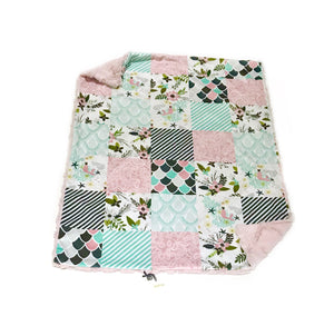 Dusty Rose Pink Mermaid and Floral Faux Quilt Minky Blanket - Baby Blanket Size