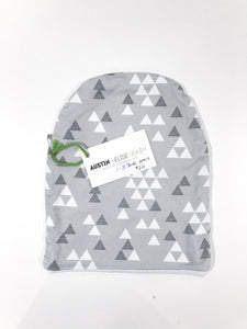 SALE - Slouch Beanies - Grey Triangles Organic Cotton Knit