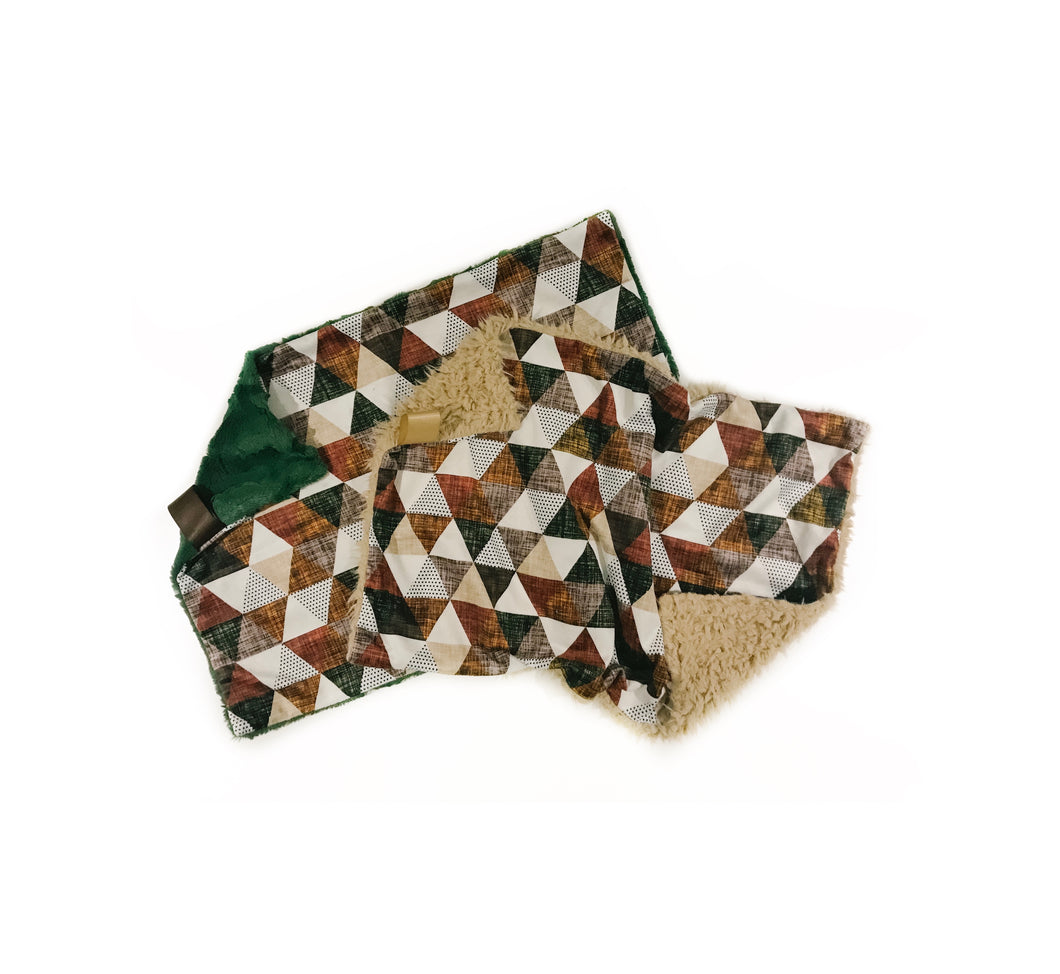 Fall Copper/Olive Triangles Minky Blanket - Large Lovey Size