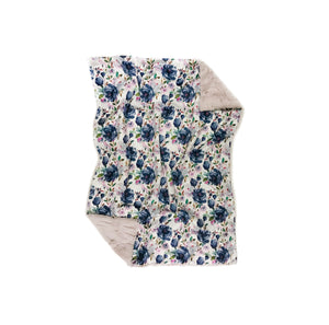 navy blue rose floral minky blanket