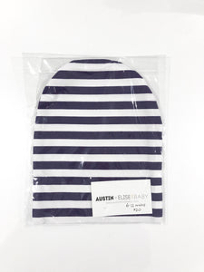 SALE - Slouch Beanies - Purple/White Stripes Knit