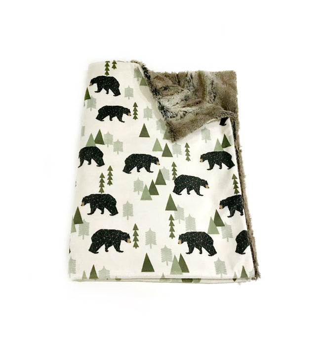 Brown Geometric Bears Minky Blanket - Baby Blanket Size