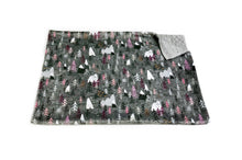 "Load image into Gallery viewer, Charcoal ""Forest Peaks"" Pink Mountains and Trees Minky Blanket - Baby Blanket Size"