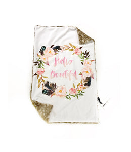 """Hello Beautiful"" Floral White & Fawn Minky Blanket - Large Lovey Size"