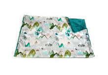 "Load image into Gallery viewer, Teal ""Call of the Mountains"" Minky Blanket - Baby Blanket Size"