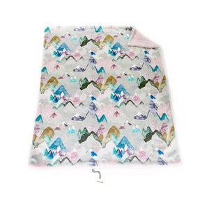 "Pastel Pink ""Call of the Mountains"" Minky Blanket - Baby Blanket Size"