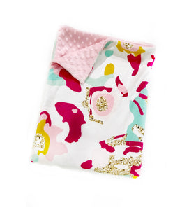 Pink and Aqua Abstract Minky Blanket - Child Blanket Size