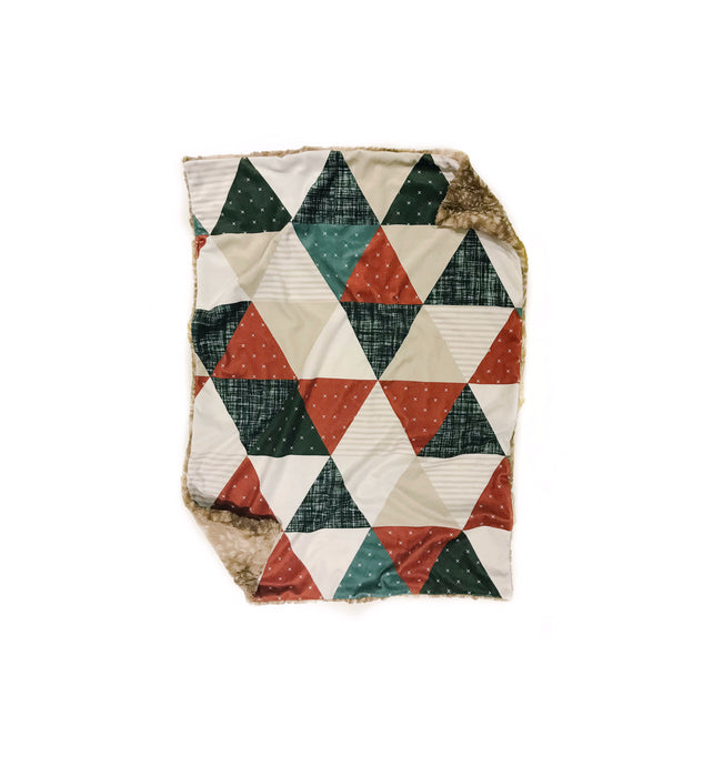 copper olive linen triangle quilt minky baby blanket