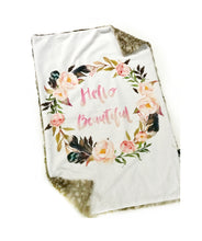 "Load image into Gallery viewer, ""Hello Beautiful"" Floral White & Fawn Minky Blanket - Large Lovey Size"