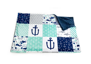 "Navy and Mint ""Under the Sea"" Faux Quilt Minky Blanket - Baby Blanket Size"