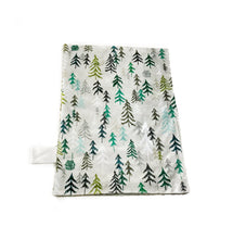 "Load image into Gallery viewer, SALE - Green and Grey ""Solitude"" Minky Blanket - Small Lovey Size"