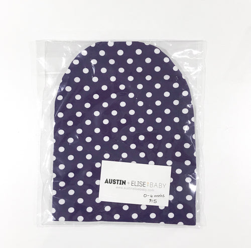 SALE - Slouch Beanies - Purple with White Dots Knit
