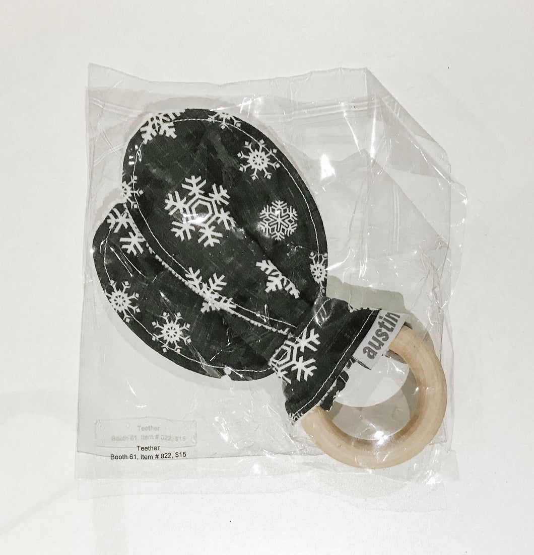 SALE - Bunny Ear Teether - Black Linen Snowflakes