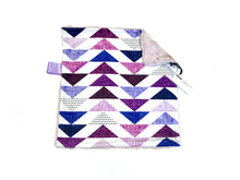 Load image into Gallery viewer, Purple Pastel Triangles Minky Blanket - Small Lovey Size