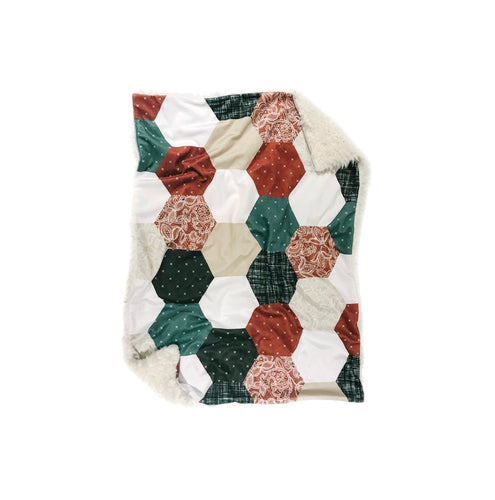 Copper/Olive/Stone Linen and Lace Hexagons Faux Quilt Minky Blanket - Baby Blanket Size