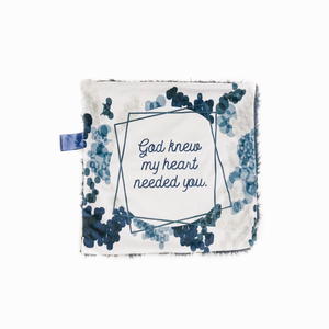 "Navy Blue ""God Knew My Heart Needed You"" Minky Blanket - Small Lovey Size"