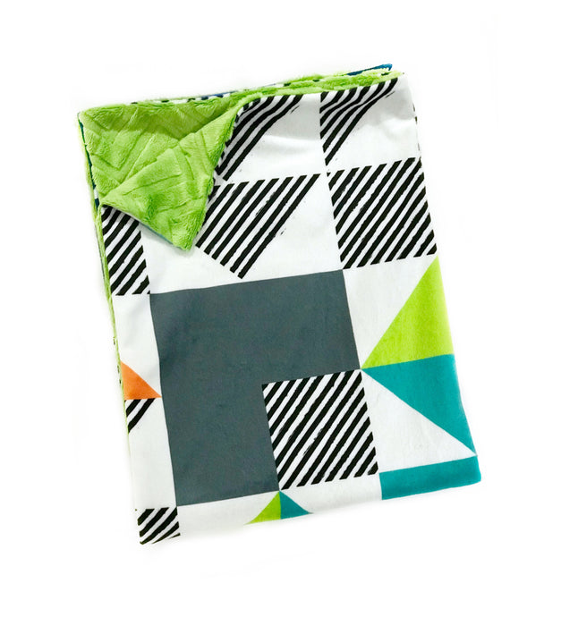 Green and Blue Triangle Puzzlecloth Minky Blanket - Child Blanket Size