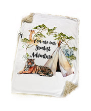 "Load image into Gallery viewer, ""You Are Our Greatest Adventure"" Jungle Safari Minky Blanket - Baby Blanket Size"