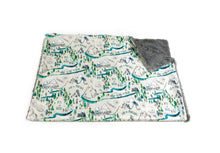 "Load image into Gallery viewer, Grey ""Into the Woods"" Adventure Mountains Minky Blanket - Baby Blanket Size"