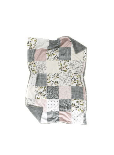 Blush and Grey Sprigs and Bloom Floral Faux Quilt Minky Blanket - Baby Blanket Size