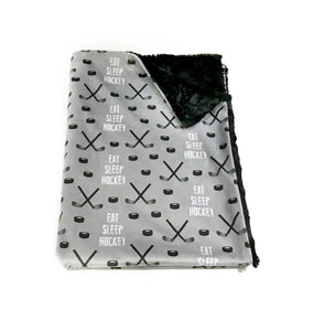 "Black and Grey ""Eat Sleep Hockey"" Minky Blanket - Baby Blanket Size"