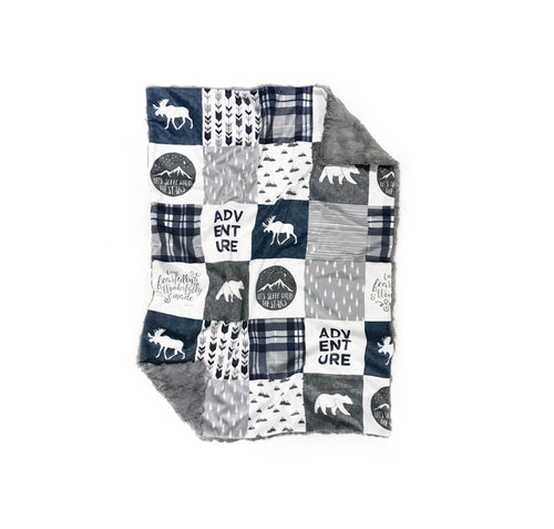 Blue/Grey Moose and Bear Adventure Faux Quilt Minky Blanket - Baby Blanket Size