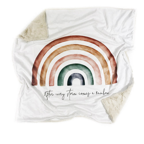 """After Every Storm Comes a Rainbow"" Minky Blanket - Baby Blanket Size"