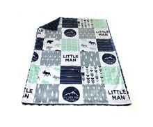 "Load image into Gallery viewer, Navy and Mint Woodland ""Little Man"" Faux Quilt Minky Blanket - Baby Blanket Size"