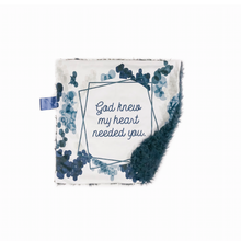 "Load image into Gallery viewer, Navy Blue ""God Knew My Heart Needed You"" Minky Blanket - Small Lovey Size"