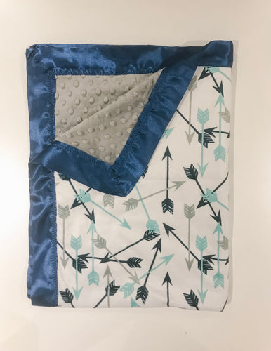 SALE - Blue Arrows with Satin Edge Blanket - Baby Blanket Size