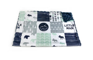 "Navy and Mint Woodland ""Little Man"" Faux Quilt Minky Blanket - Baby Blanket Size"