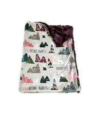 "Load image into Gallery viewer, Plum ""Adventure Awaits"" Mountains Minky Blanket - Baby Blanket Size"