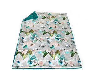 "Teal ""Call of the Mountains"" Minky Blanket - Baby Blanket Size"