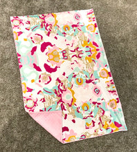 Load image into Gallery viewer, Pink and Aqua Abstract Minky Blanket - Child Blanket Size