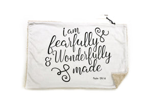 """I am Fearfully and Wonderfully Made"" Minky Blanket - Large Lovey Size"