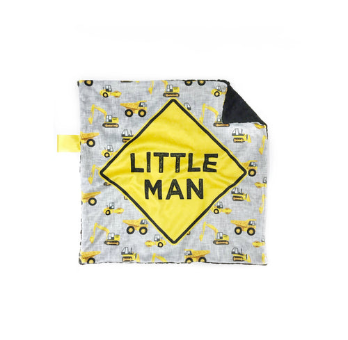 """Little Man"" Construction Minky Blanket - Small Lovey Size"