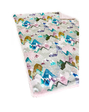 "Load image into Gallery viewer, Pastel Pink ""Call of the Mountains"" Minky Blanket - Baby Blanket Size"