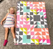 "Load image into Gallery viewer, Girl ""Adventure Awaits"" Mountain Minky Blanket - Child Blanket Size"