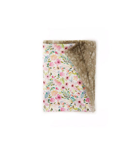 Pink Watercolour Floral and Fawn Minky Blanket - Baby Blanket Size
