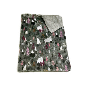 "Charcoal ""Forest Peaks"" Pink Mountains and Trees Minky Blanket - Baby Blanket Size"