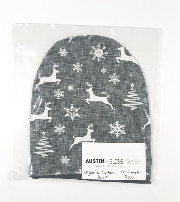 SALE - Slouch Beanies - Charcoal Linen Reindeers Organic Cotton Knit