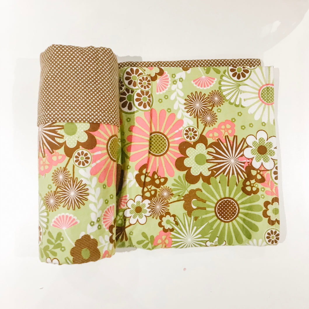 SALE - Green/Brown Floral - Double-Sided Flannel Receiving Swaddle Blanket