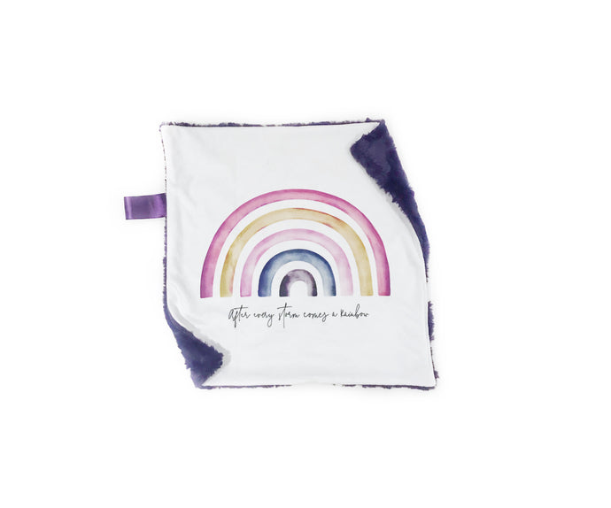"Purple ""After Every Storm Comes a Rainbow"" Minky Blanket - Small Lovey Size"