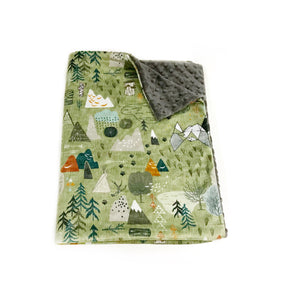 "Olive ""Max's Map"" Mountains Minky Blanket - Baby Blanket Size"