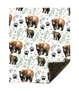 Mama Bear and Cub Watercolour Minky Blanket - Baby Blanket Size