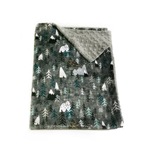 "Load image into Gallery viewer, Charcoal ""Forest Peaks"" Mountains and Trees Minky Blanket - Baby Blanket Size"