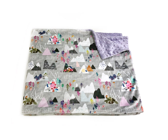 "Grey ""Mountain Dreams"" Minky Blanket - Toddler Blanket Size"