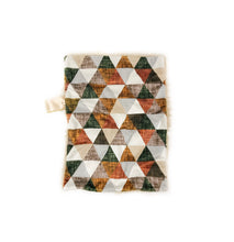 Load image into Gallery viewer, Cinammon/Copper/Olive Linen Triangles Minky Blanket - Small Lovey Size