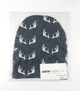SALE - Slouch Beanies - Navy Linen Antlers Organic Cotton Knit