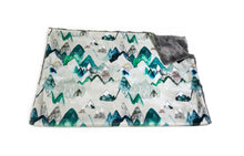 "Load image into Gallery viewer, Evergreen ""Call of the Mountains"" Minky Blanket - Baby Blanket Size"